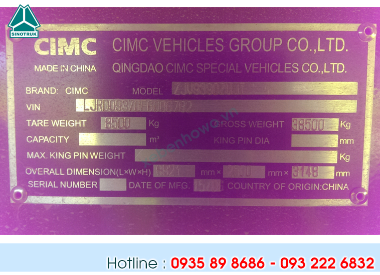 Mooc ben CIMC tải trọng 30.5T