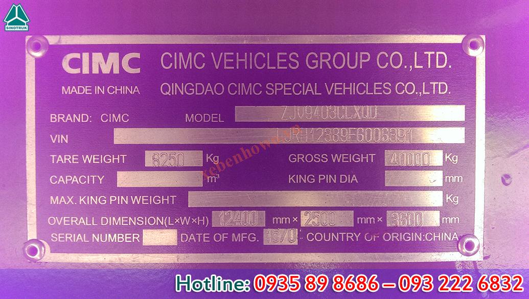 Mooc lồng 12.4m CIMC tải trọng 30.8T